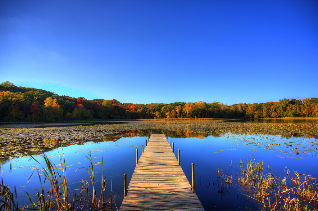Dock onto the lake during Fall