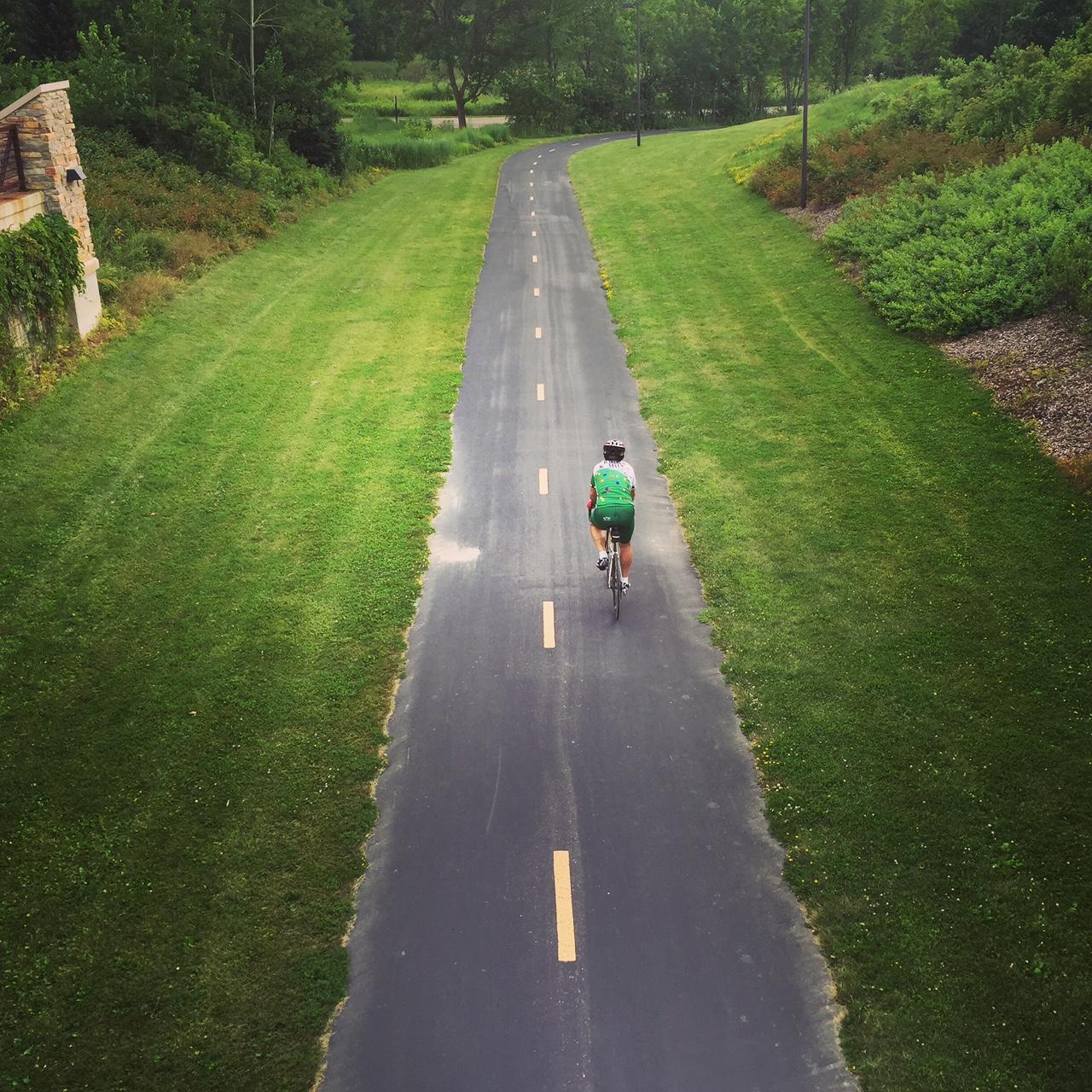 Person on bike path
