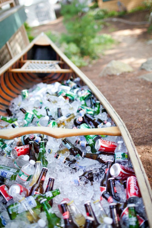 canoe full of drinks and ice