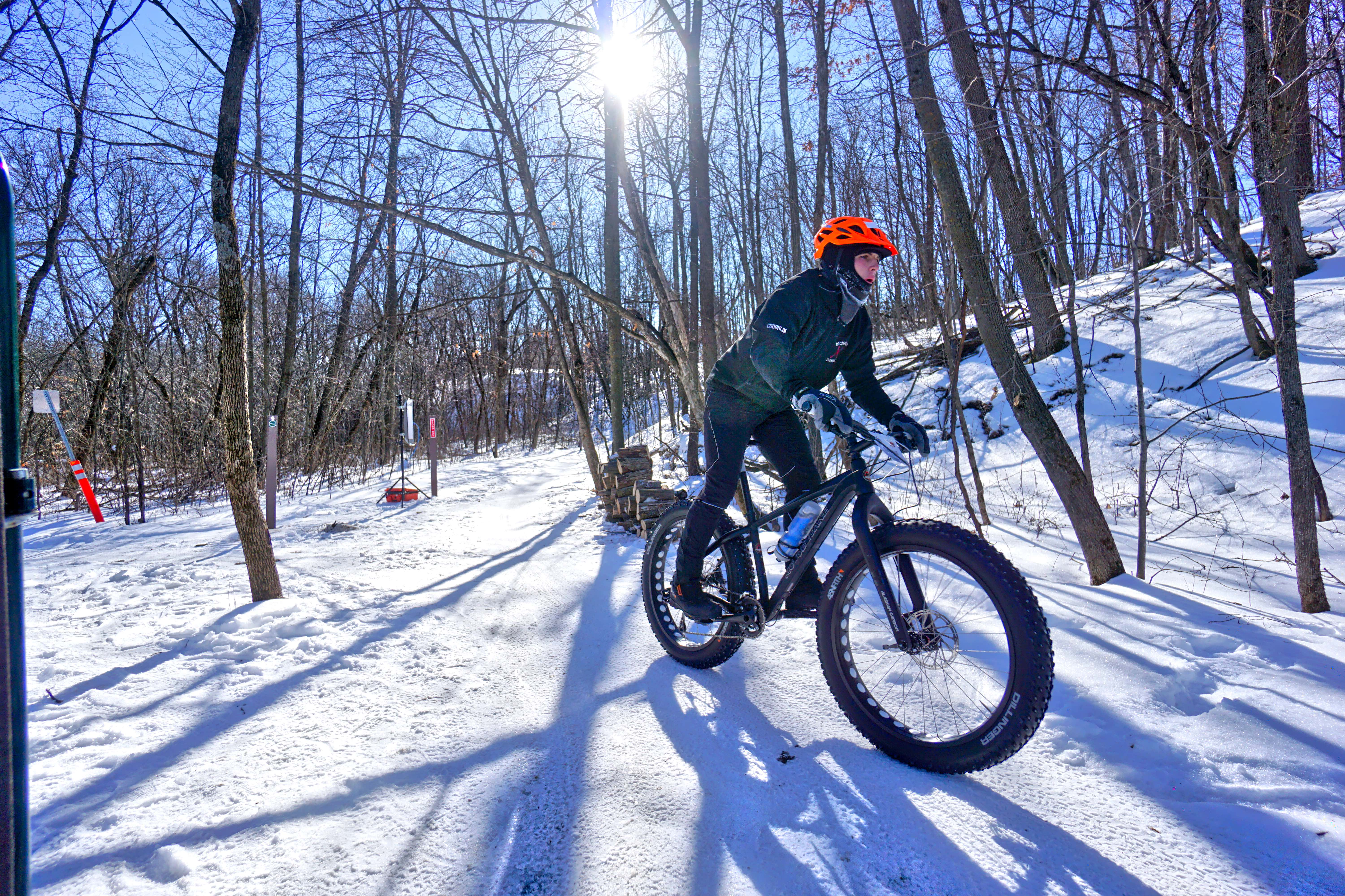 Riding a fat bike on the trails at Elm Creek