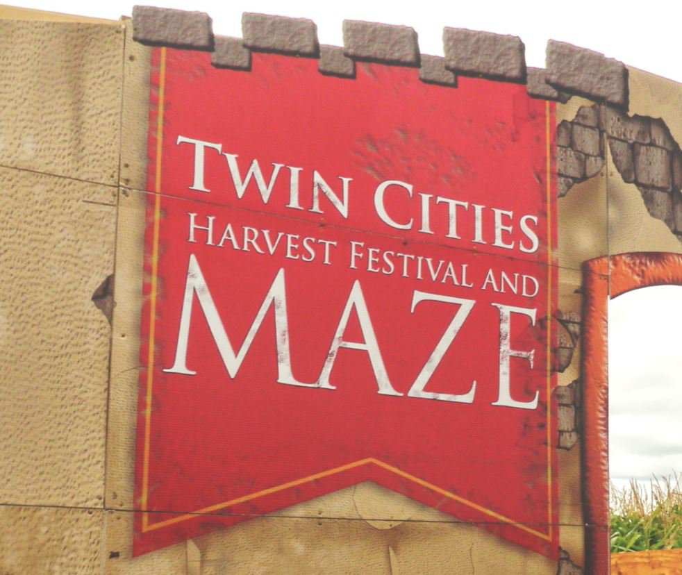 Twin Cities Harvest Festival and Maze sign