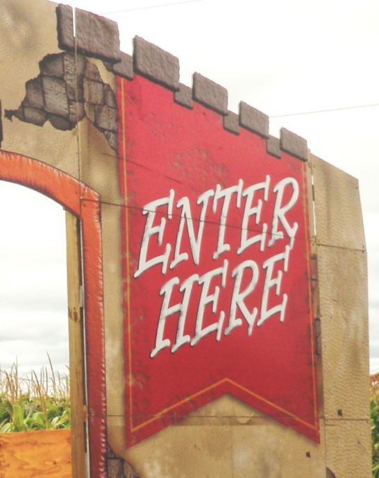 Enter here corn maze sign