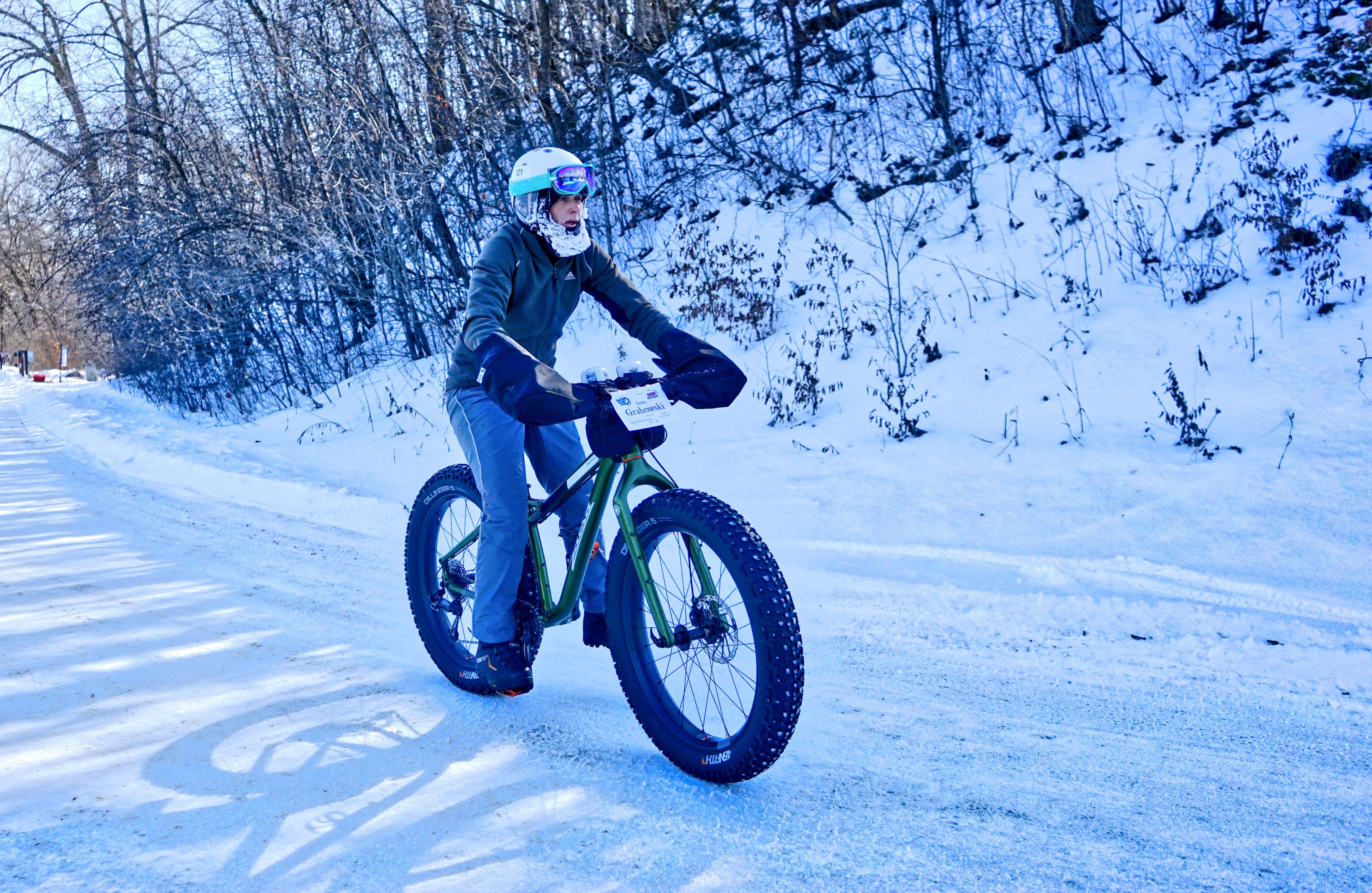 Woman on fat bike in the winter