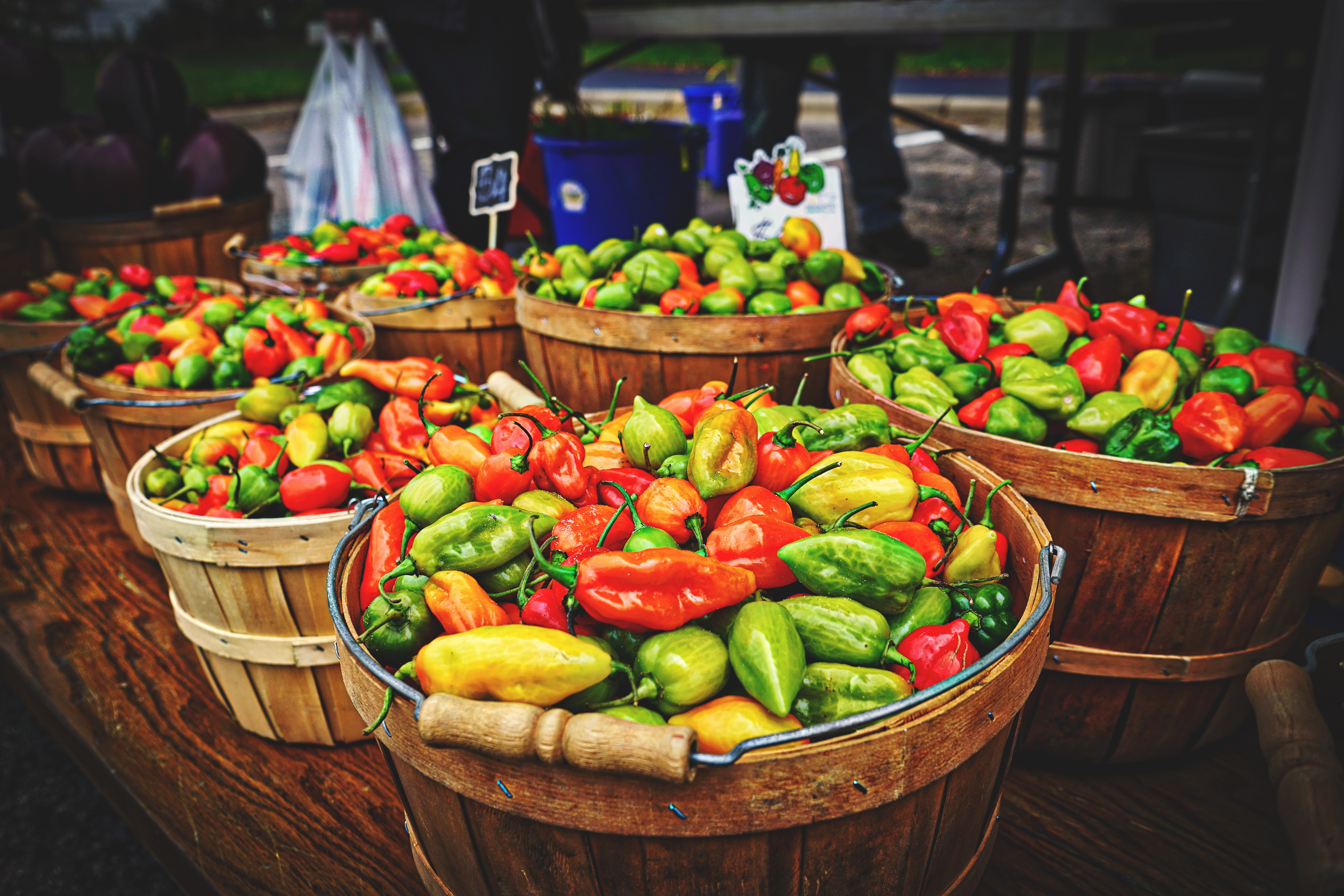 Variety of peppers at a farmers market