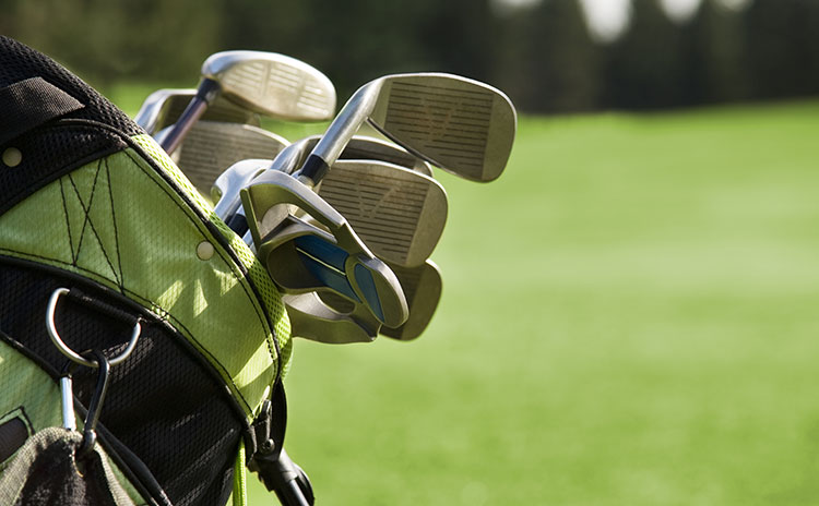 Golf bag with golf clubs
