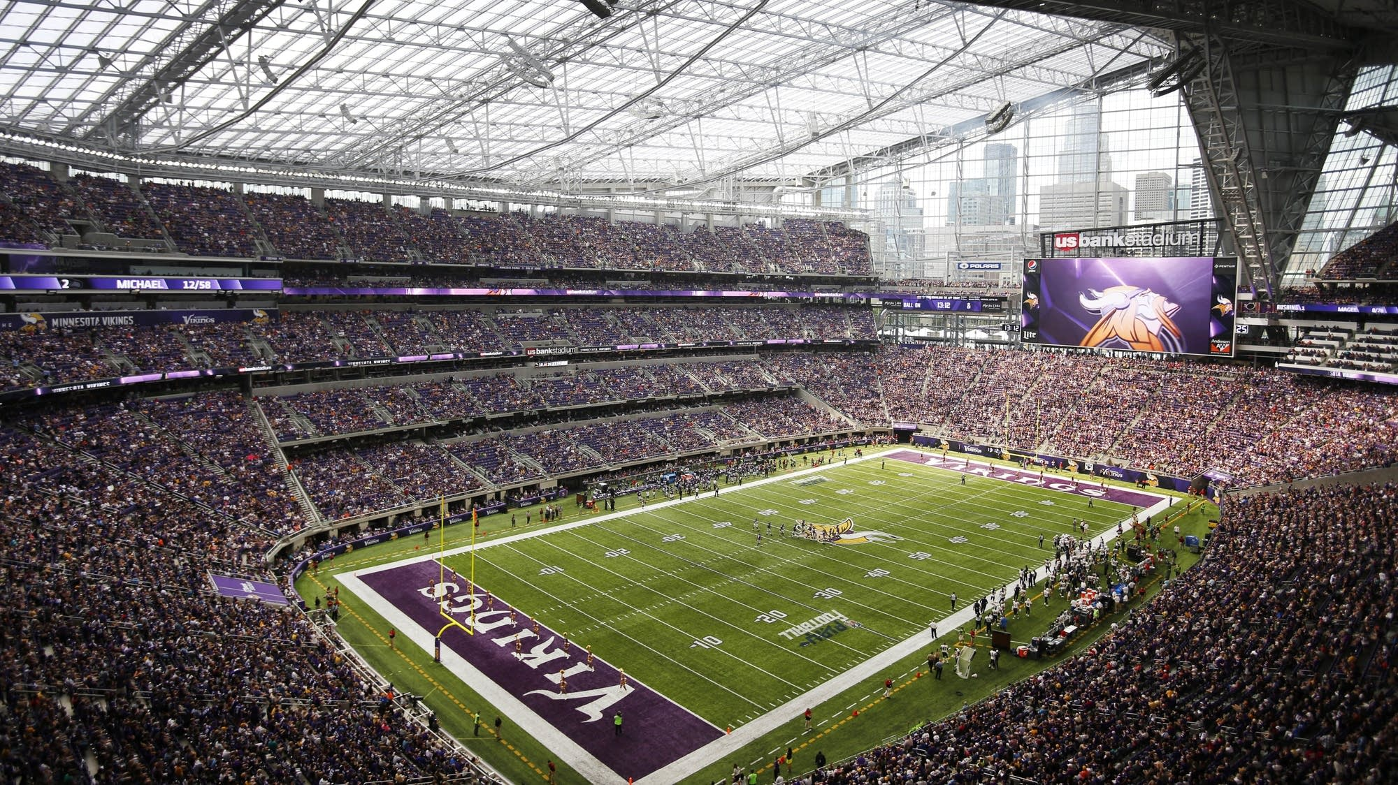 Inside of US Bank Stadium during Vikings game