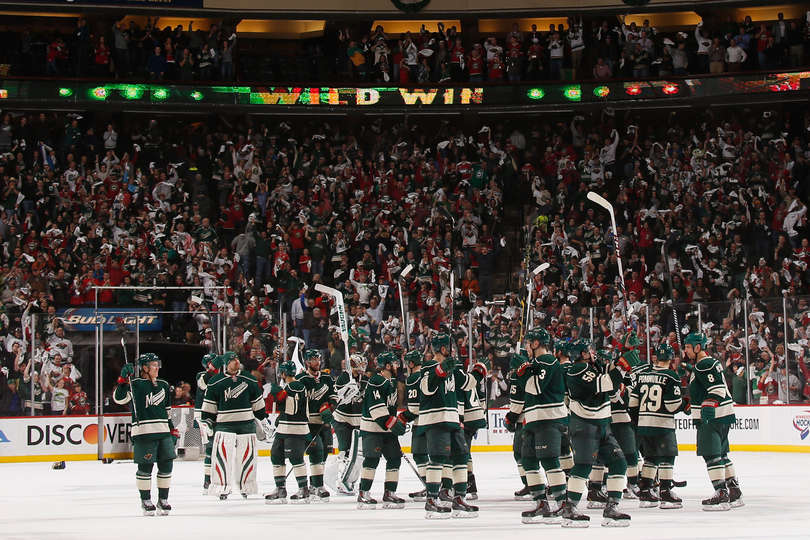 Minnesota Wild players after a win