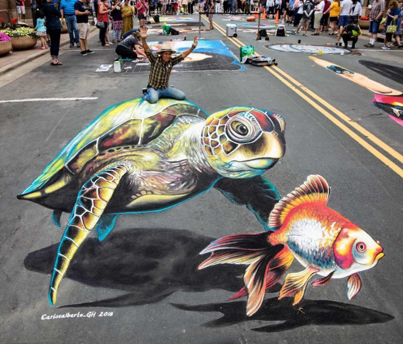 Carlos Alberto's Sea Turtle and Fish at Chalkfest