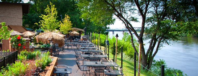 Patio on the river at Psycho Suzi's