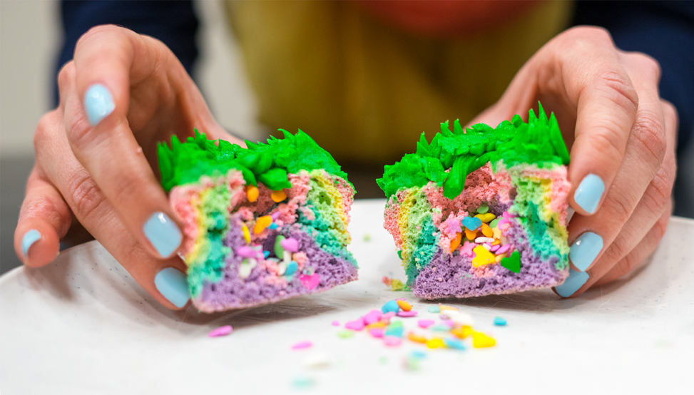 Inside of Unicorn Poop cupcake
