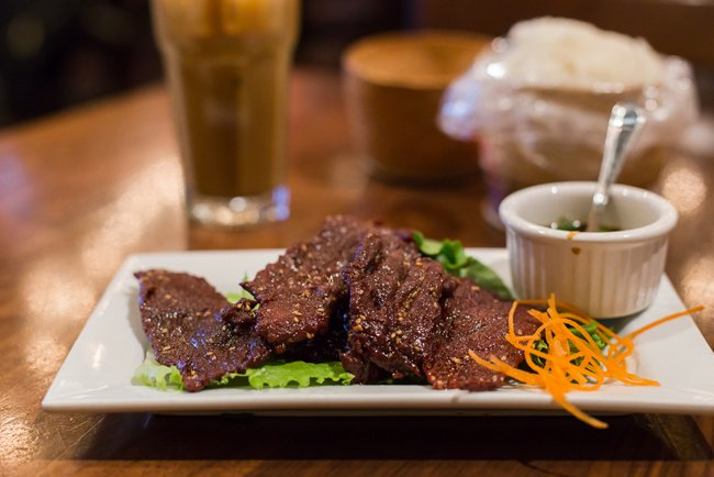 Plate of Nuea-Sawan, the Lao equivalent of beef jerky
