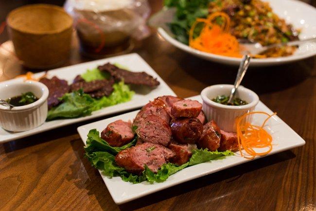 Plate of Sai-Oua E-sane, which is a Lao sausage